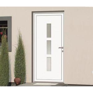Porte d'entrée ? panneaux en aluminium Ori Avantage blanche 2,15 x 0,90 m poussant gauche