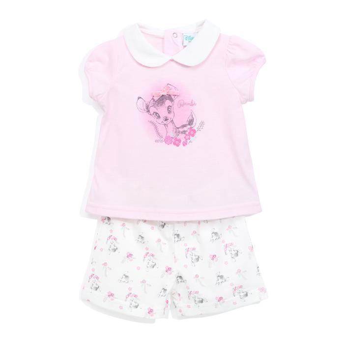 BAMBI Ensemble Short + T-shirt Manches Courtes Rose Clair Sérigraphié Enfant Fille