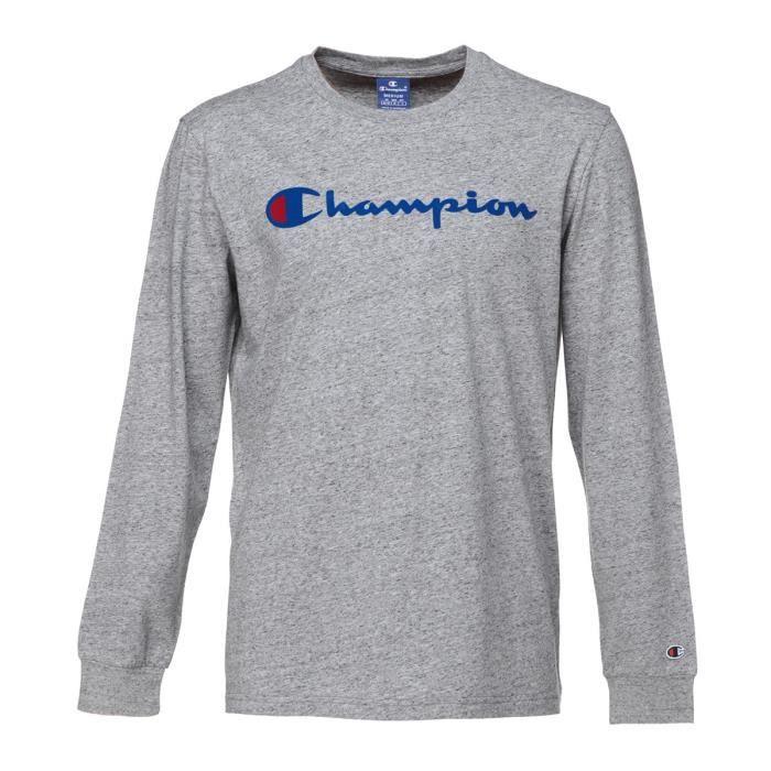 CHAMPION T-shirt manches longues - Homme - Gris chiné