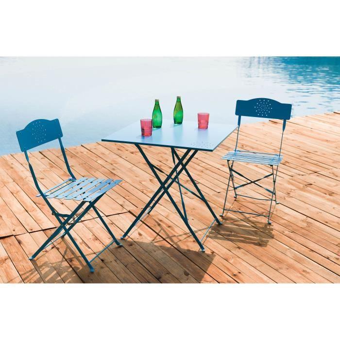 FINLANDEK - Set bistrot table 70x70 cm + 2 chaises BLEU - HIENO