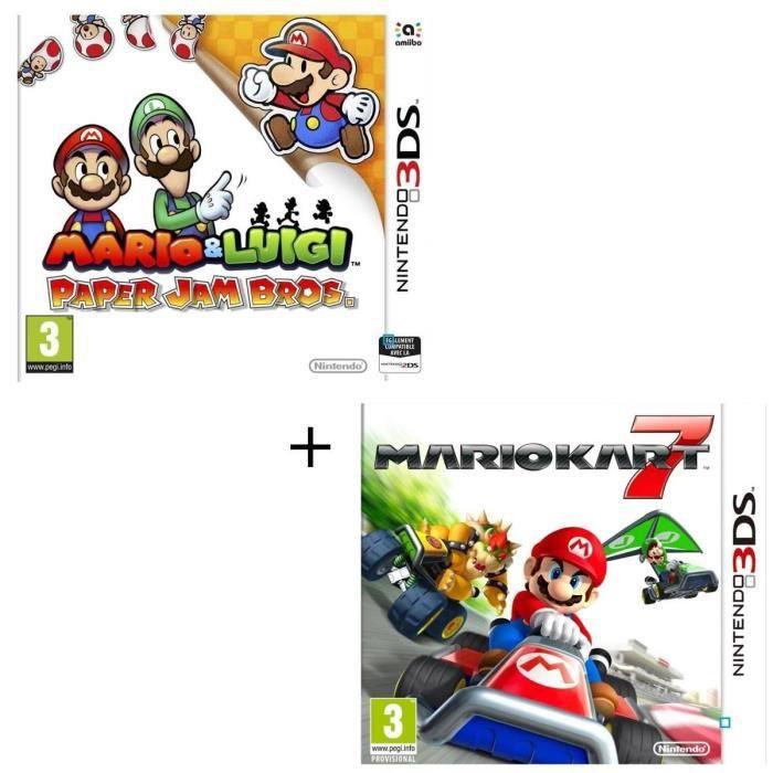Pack 2 jeux 3DS : Mario & Luigi paper jam + Mario Kart 7 3D