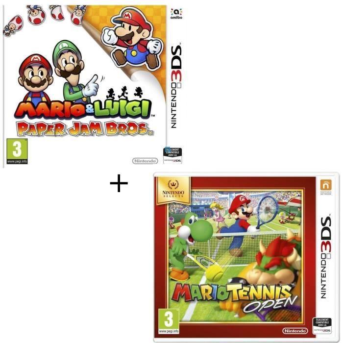 Pack 2 jeux 3DS : Mario & Luigi paper jam + Mario Tennis Open