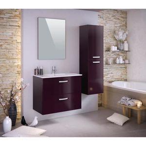 STELLA Ensemble SDB laqué aubergine brillant - Style et design contemporain - Panneaux particules mélaminés - 1 meuble sous-vasque 2 tiroirs, 2 poignées métal L80xP50xH65cm + simple vasque en céramique + miroir + colonne 2 portes, 2 poignées métal, fixati
