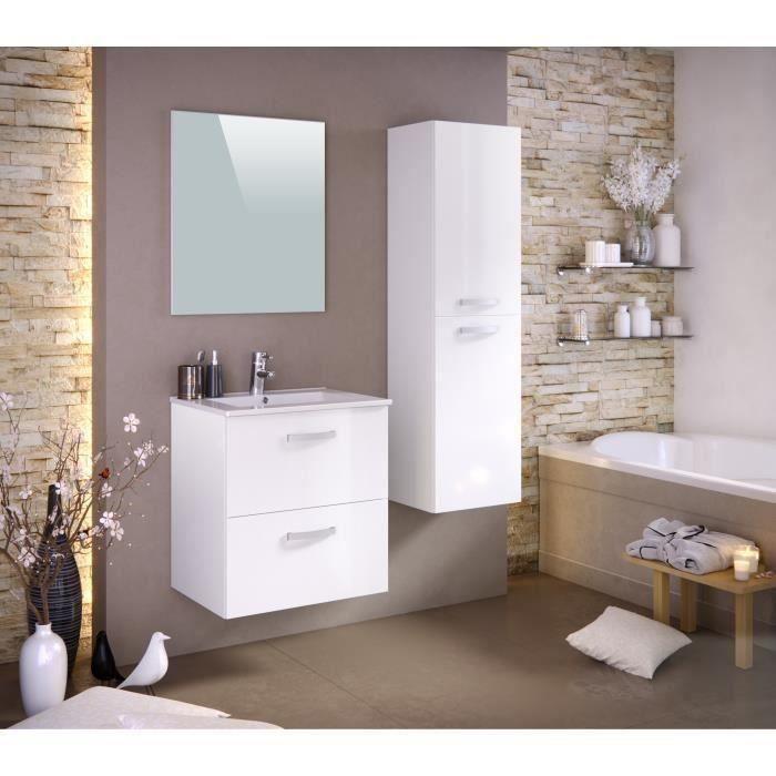 Panneaux particules mélaminés - Laqué blanc brillant - Meuble sous-vasque 60cm, simple vasque, miroir, colonneSALLE DE BAIN COMPLETE