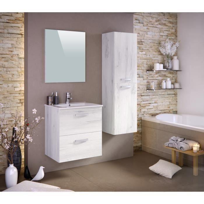 Panneaux particules mélaminés - Décor bois blanchi - Meuble sous-vasque 60cm, simple vasque, miroir, colonneSALLE DE BAIN COMPLETE