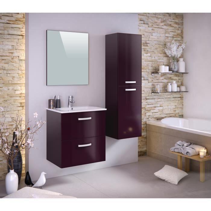 STELLA Ensemble salle de bain simple vasque avec colonne et miroir L 60 cm - Aubergine laqué brillan
