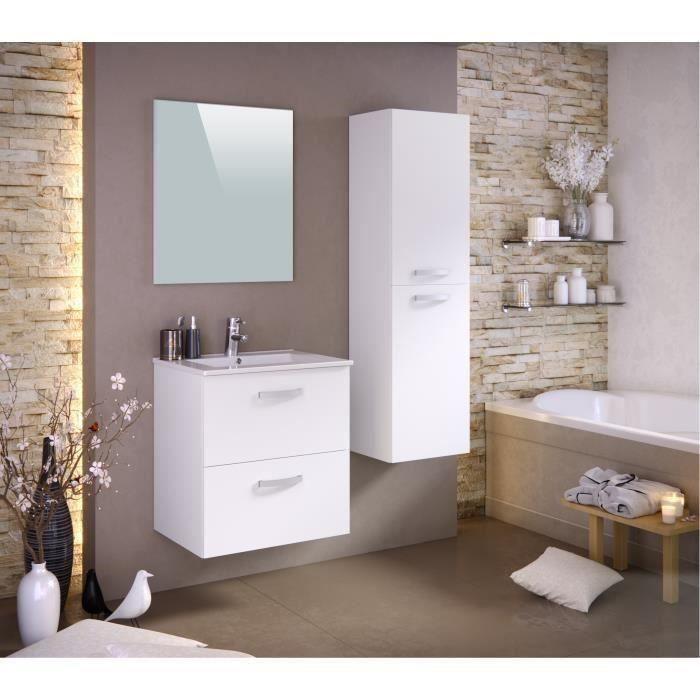 Panneaux particules mélaminés - Blanc mat - Meuble sous-vasque 60cm, simple vasque, miroir, colonneSALLE DE BAIN COMPLETE