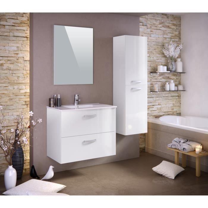 Panneaux particules mélaminés - Laqué blanc brillant - Meuble sous-vasque 80cm, simple vasque, miroir, colonneSALLE DE BAIN COMPLETE