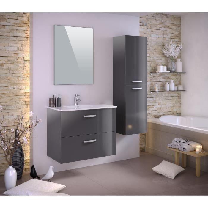STELLA Ensemble salle de bain simple vasque avec colonne et miroir L 80 cm - Gris laqué brillant