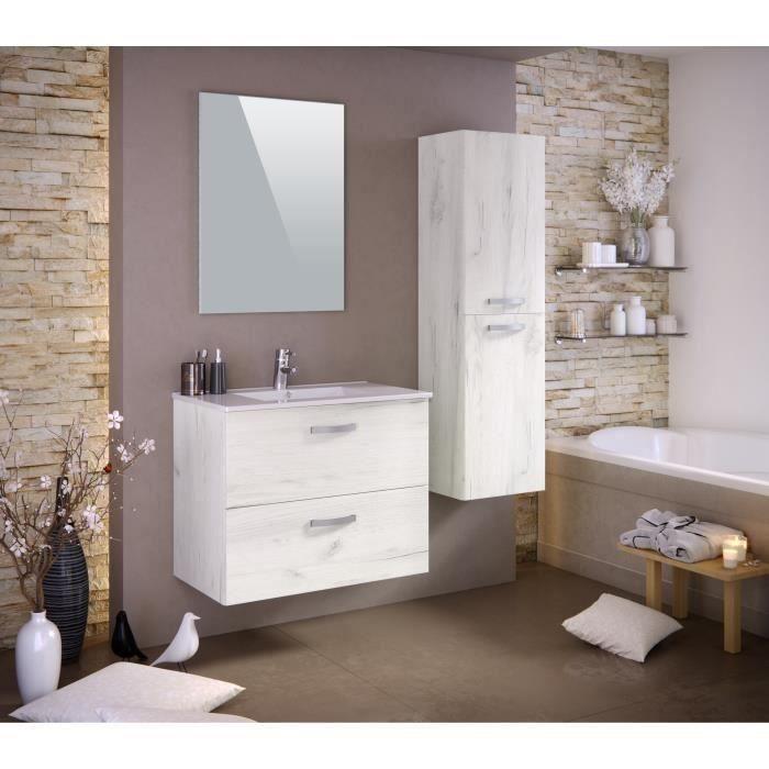 STELLA Ensemble salle de bain simple vasque avec colonne et miroir L 80 cm - Décor bois blanchi