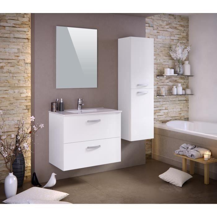 Panneaux particules mélaminés - Blanc mat - Meuble sous-vasque 80cm, simple vasque, miroir, colonneSALLE DE BAIN COMPLETE
