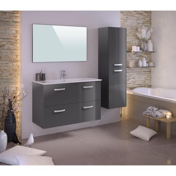 STELLA Ensemble salle de bain simple vasque avec colonne et miroir L 100 cm - Gris laqué brillant