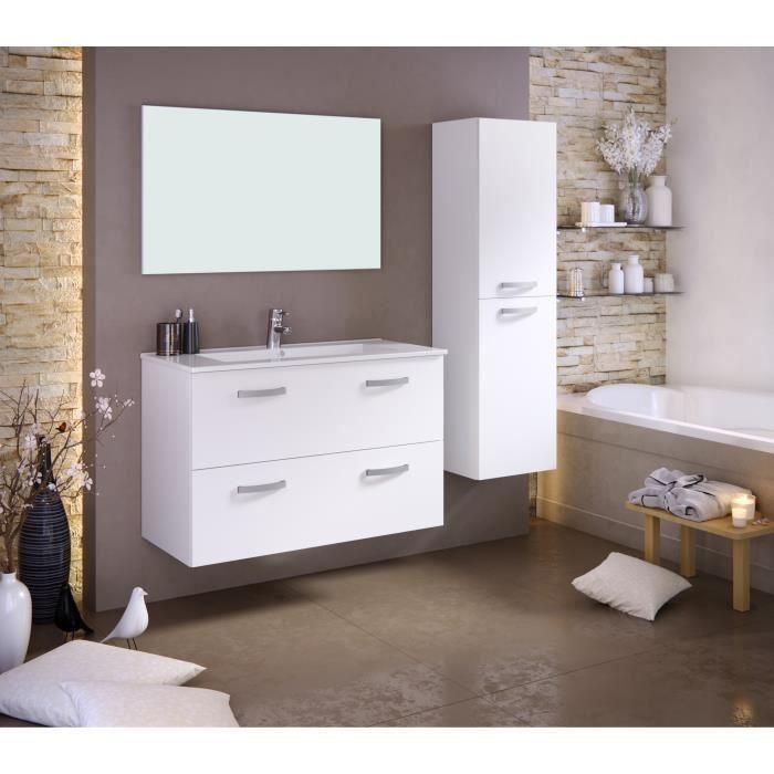 Panneaux particules mélaminés - Blanc mat - Meuble sous-vasque 100cm simple vasque, miroir, colonneSALLE DE BAIN COMPLETE