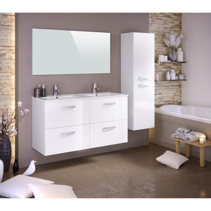 Panneaux particules mélaminés - Laqué blanc brillant - Meuble sous-vasque 120cm double vasque, miroir, colonneSALLE DE BAIN COMPLETE