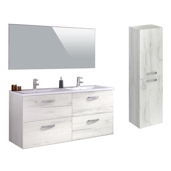 STELLA Ensemble salle de bain double vasque avec colonne et miroir L 140 cm - Décor bois blanchi