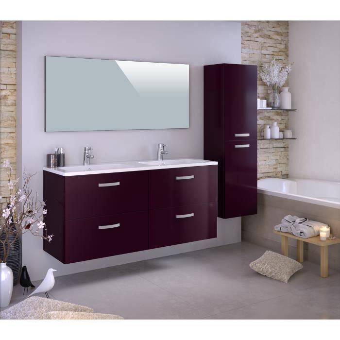 STELLA Ensemble salle de bain double vasque avec colonne et miroir L 140 cm - Aubergine laqué brilla