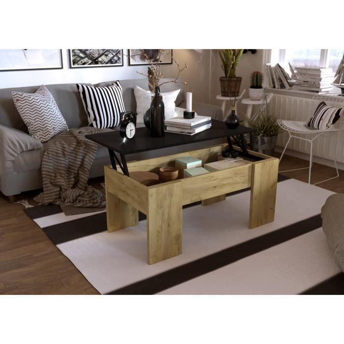 SWING Table basse relevable - Décor chêne et noir - L 100 x P 50 x H 44 cm