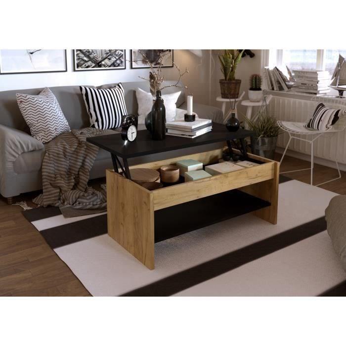 HAPPY Table basse relevable - Décor chêne et noir - L 100 x P 50 x H 44 cm