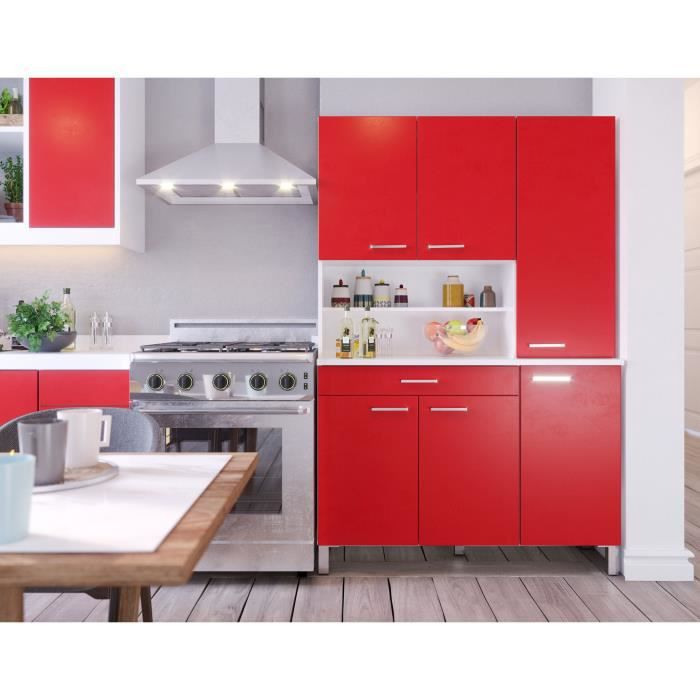 TACOMA Buffet de cuisine L 120 cm - décor rouge