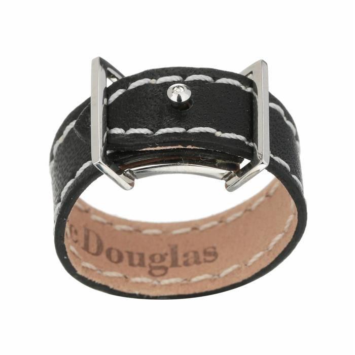 MAC DOUGLAS Bague Mac Douglas Acier Cuir Noir 8 Mm