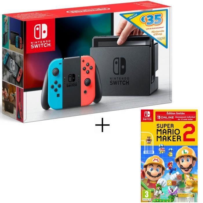 Nintendo switch avec joy cons néon ed. limitée code téléchargement 35€ pour nintendo eshop super mario maker 2 ed. limitée