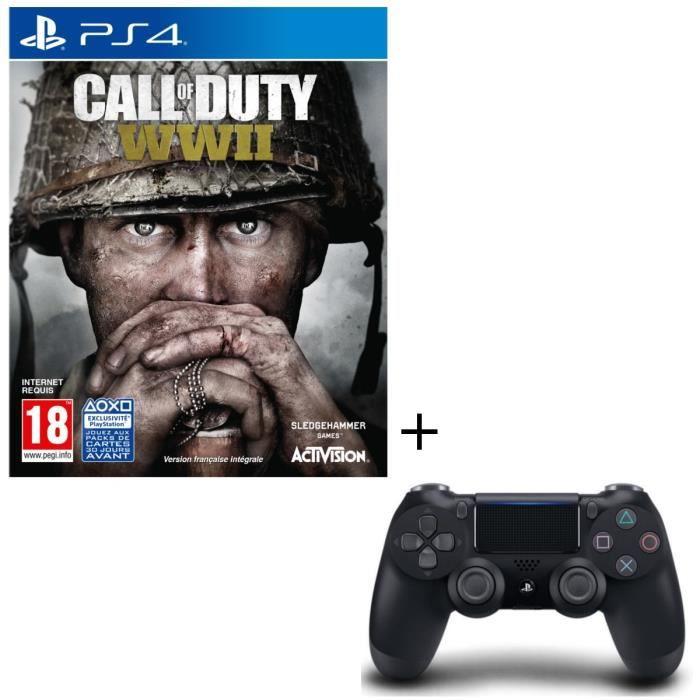 Call of Duty World War II Jeu PS4 + Manette DualShock 4 Noire V2