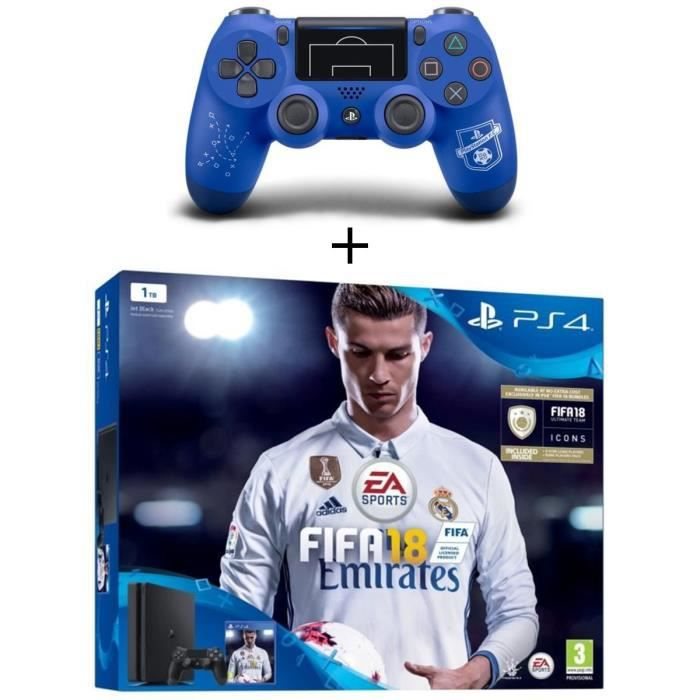 Pack Nouvelle PS4 Slim 1 To + FIFA 18 Jeu PS4 + Manette DualShock 4 PlayStation Football Club PS4