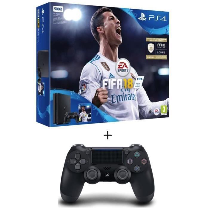 PS4 Noire 500 Go + FIFA 18 + Manette PS4 DualShock 4 Noire V2