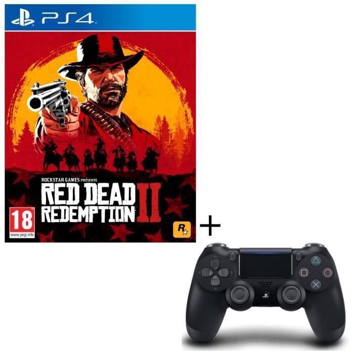Pack PS4 : Red Dead Redemption 2 + Manette PS4 DualShock 4 Noire V2