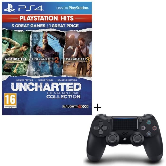 Pack Uncharted : The Nathan Drake Collection PlayStation Hits + Manette PS4 DualShock 4 Noire V2