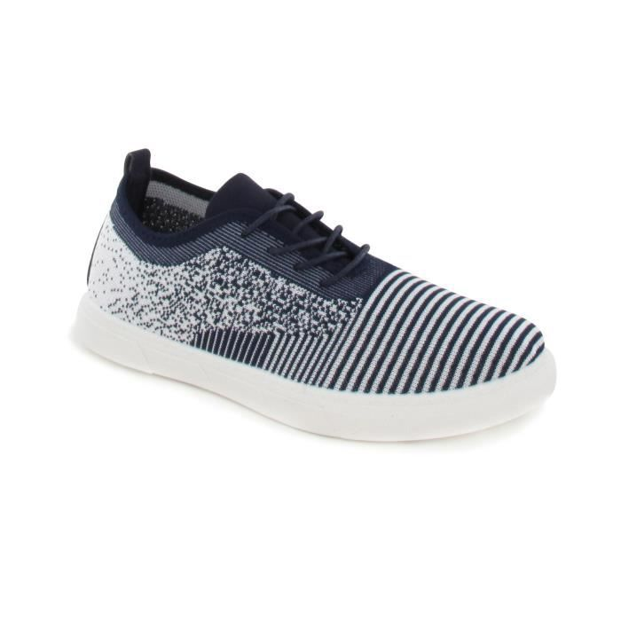 BE ONLY - HERMAN Baskets Bleues en Toile - Homme