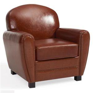 CLEMSON  Fauteuil club en cuir marron