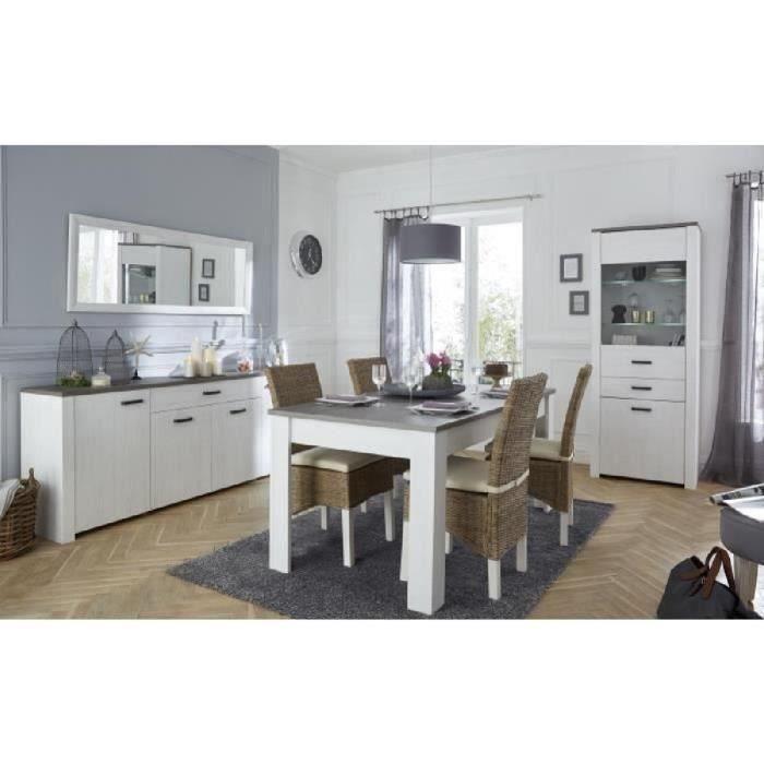MARQUIS Ensemble meubles de séjour: vitrine + enfilade + table à manger - Décor chêne prata et blanc perle