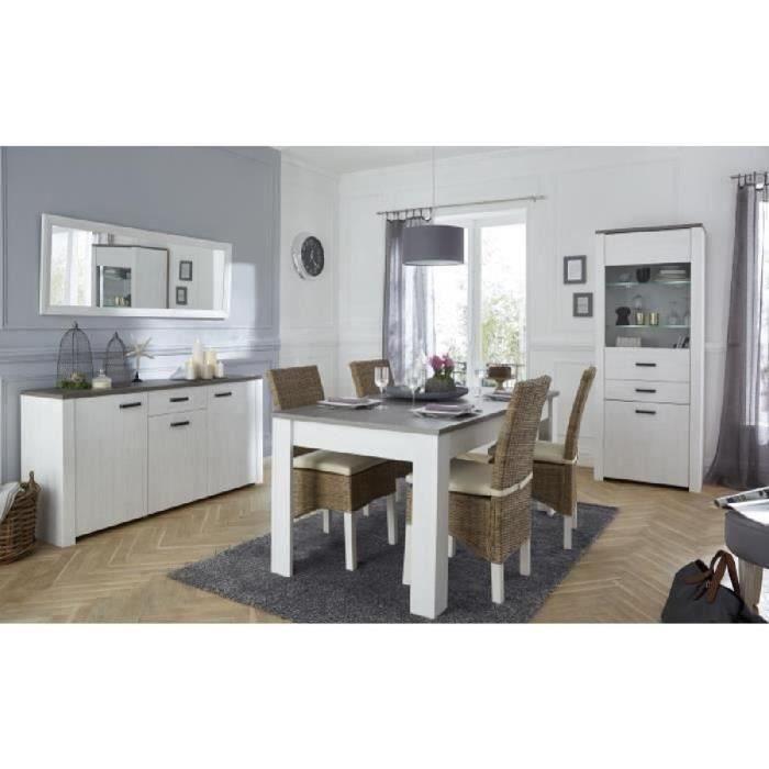 MARQUIS Ensemble meubles de séjour: vitrine + enfilade + table à manger extensible - Décor chêne prata et blanc perle