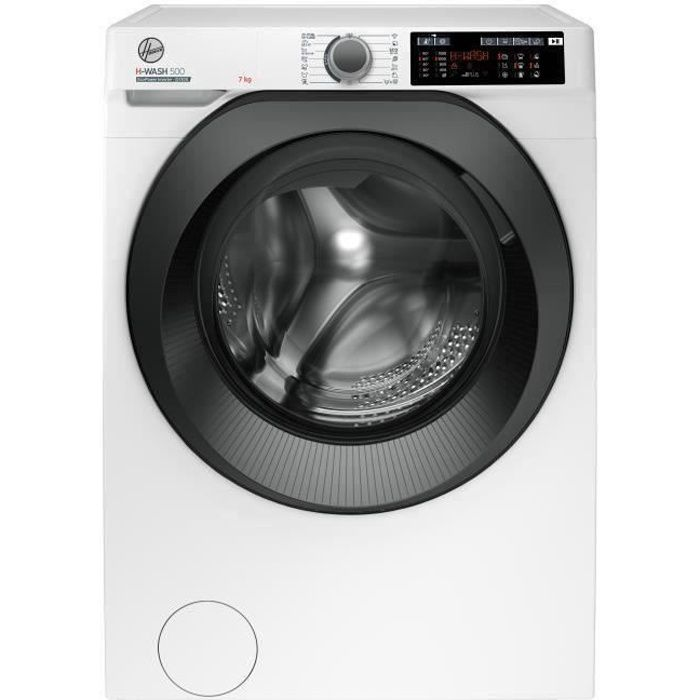 Lave Linge frontal HOOVER H-WASH 500 HW437XMBB/1-S - 7 kg - A +++ - 1300 tours / min - Blanc