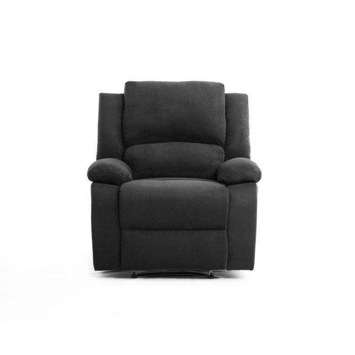 RELAX Fauteuil relaxation - Tissu noir - Style contemporain - L 86 x P 90 cm