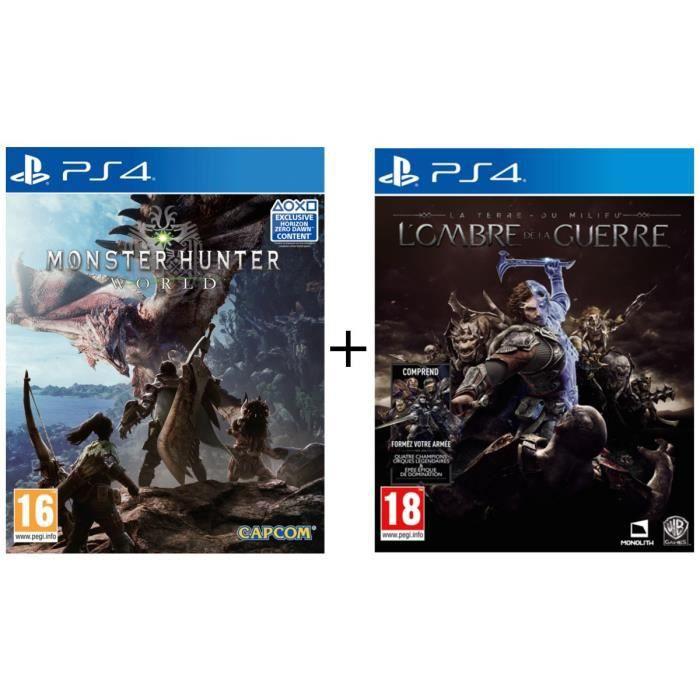Pack Monster Hunter World + La Terre du Milieu : L'Ombre de la Guerre jeux PS4