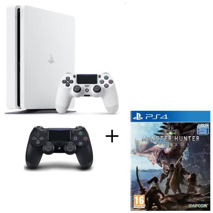 Nouvelle PS4 500 Go Glacier White + 2ème Manette PS4 DualShock 4 Noire V2 + Monster Hunter World Jeu PS4