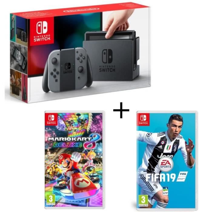 Pack nintendo switch grise fifa 19 mario kart 8 deluxe