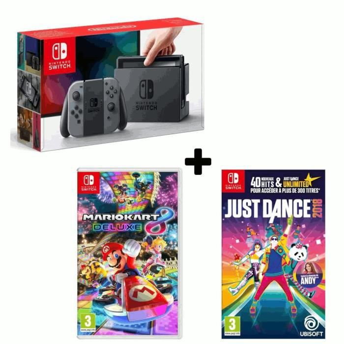 Console nintendo switch grise 2 jeux just dance 2018 mario kart 8 deluxe