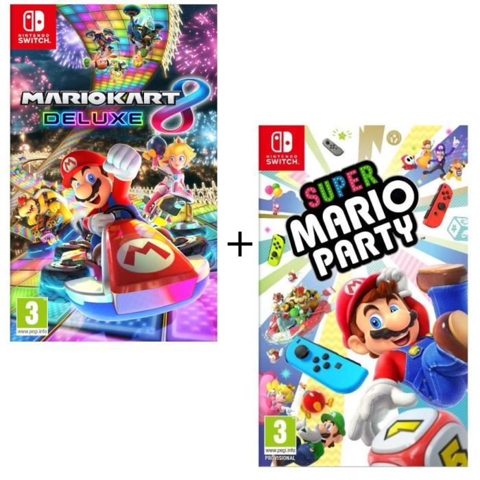 Pack 2 jeux Switch : Super Mario Party + Mario Kart 8 Deluxe