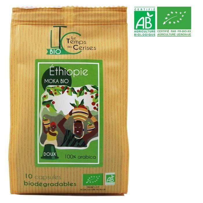 LE TEMPS DES CERISES Café Moka d'Ethiopie Bio 10 capsules compatible Nespresso® 50 g