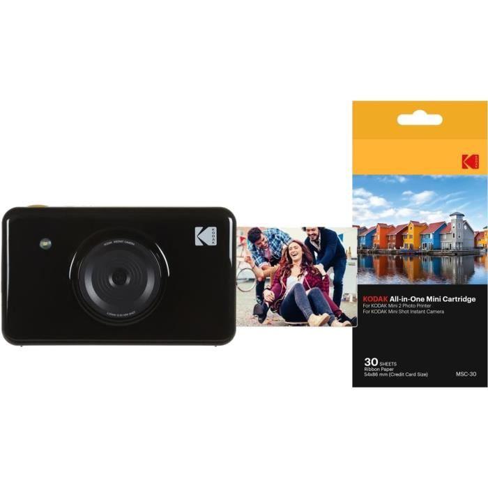 Pack Kodak Mini Shot Appareil photo instantané avec Ecran + Pack de 30 feuilles compatible Mini Shot et imprimante Mini 2