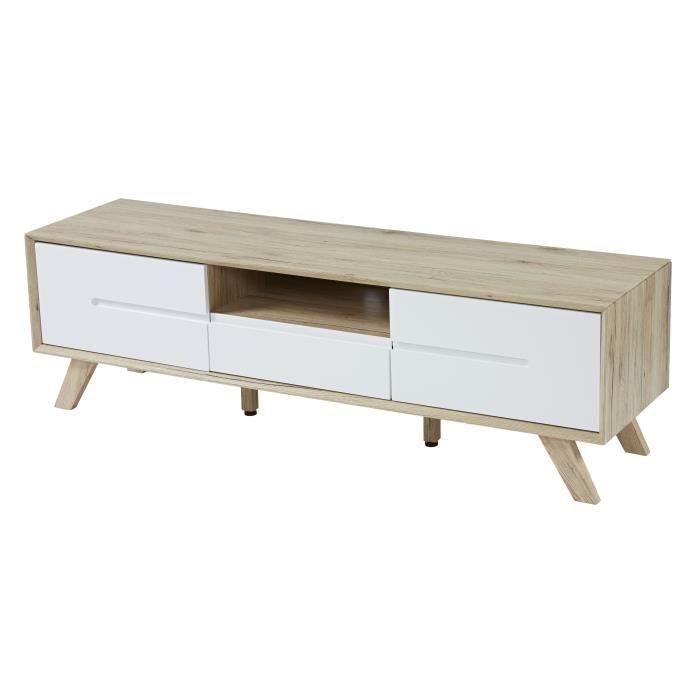 MDF décor Sonoma et laqué blanc mat - Pieds pin biseauté - L140 x P40 x H45,5 cm - 2 portes, 1 tiroir, 1 nicheMEUBLE TV - MEUBLE HI-FI