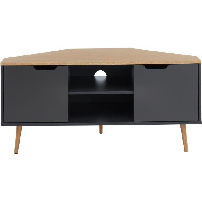 LYNA Meuble TV d'angle - Style industriel - Décor chêne et gris anthracite - L 115 x P 55x H 53,5cm
