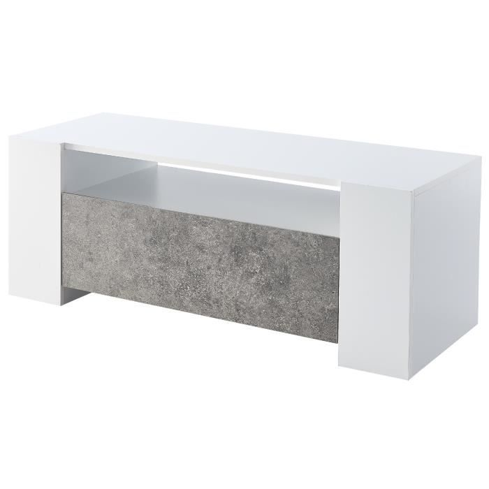 Panneaux de particules blanc et décor béton mat - L 106 x P 41 x H 40 cm - 1 tiroir et 1 nicheMEUBLE TV - MEUBLE HI-FI