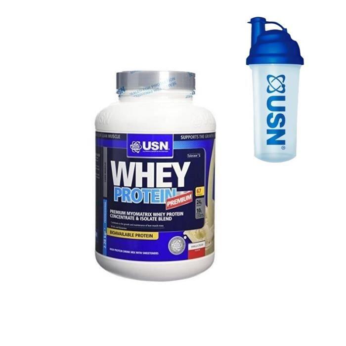 USN Protéine 100% Whey 2.28 kg + Pre-entraînement Shaker