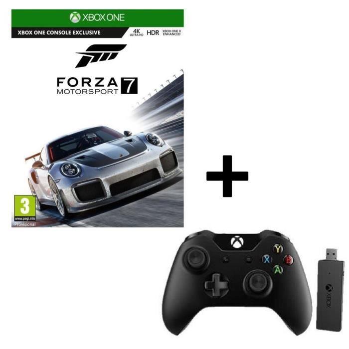 Pack Forza Motorsport 7 Jeu Xbox One + Manette Xbox One avec adaptateur sans fil pour Windows