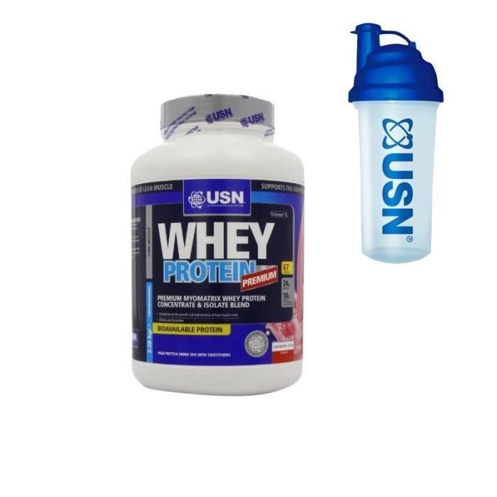 USN Protéine 100% Whey Fraise 2.28 kg + Pre-entraînement Shaker