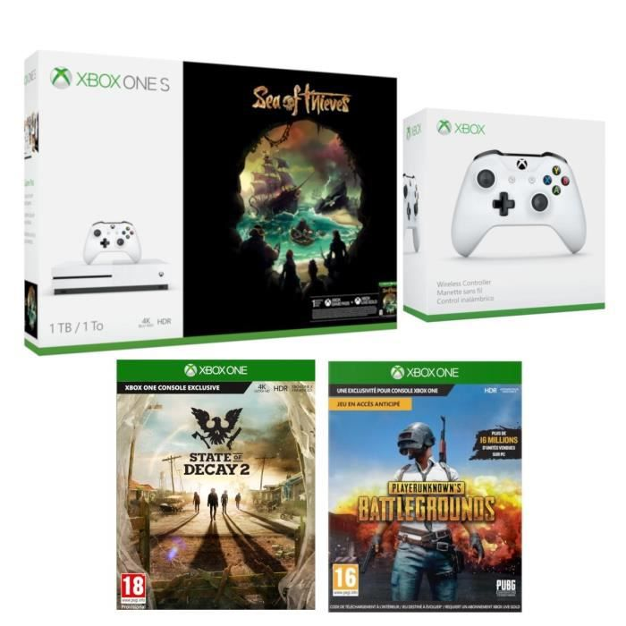 Xbox One S 1 To Sea of Thieves + 2e Manette sans fil + State of Decay 2 + PUBG